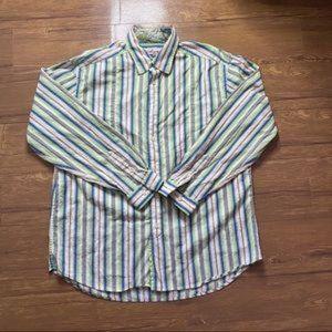 Robert Graham Button Down Stripes Size Large